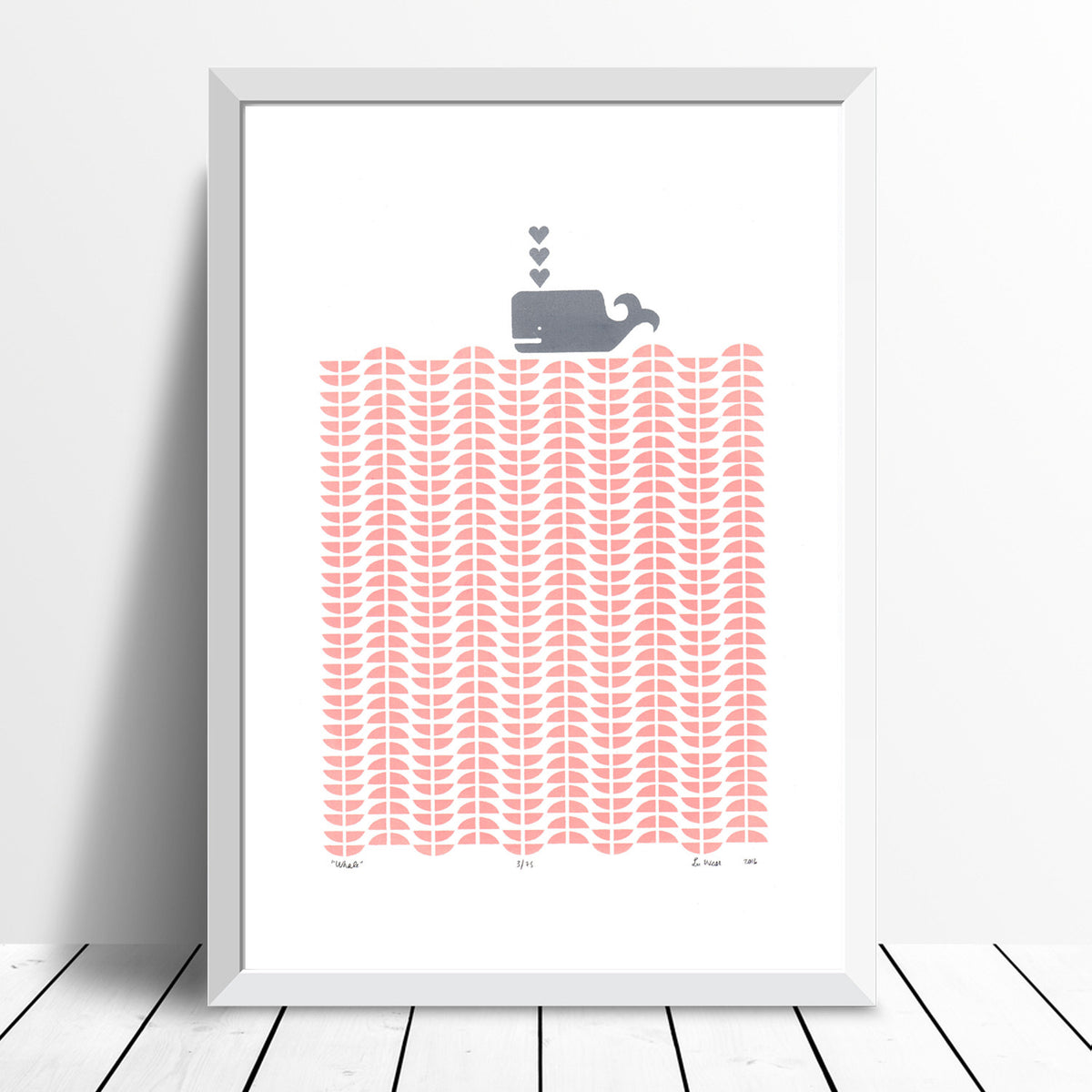 Nautical Scandinavian graphic print of a grey whale in an ocean of pastel pink rose blush waves.