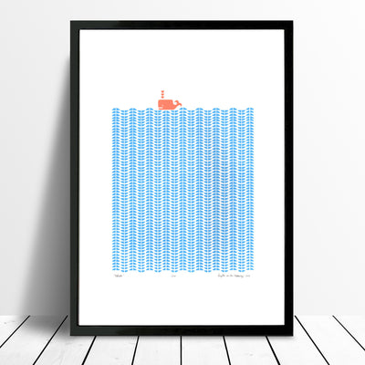Nautical Scandinavian style print of a coral coloured whale in a graphic sea of cerulean blue waves.