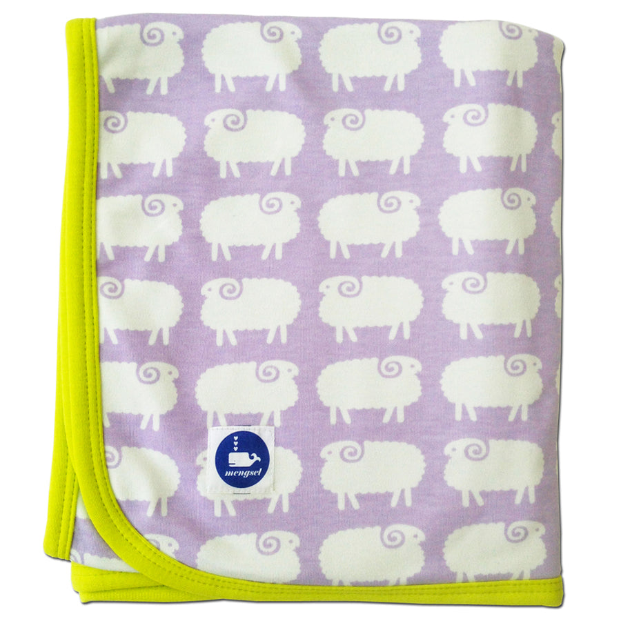 Sheep Baby Blanket Lavender CLEARANCE
