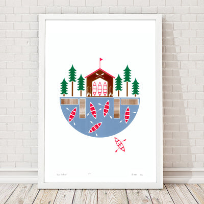 Explore the great outdoors with this charming lakeside inspired print. This graphic Scandinavian style print will remind you of beautiful Summers at the lake.