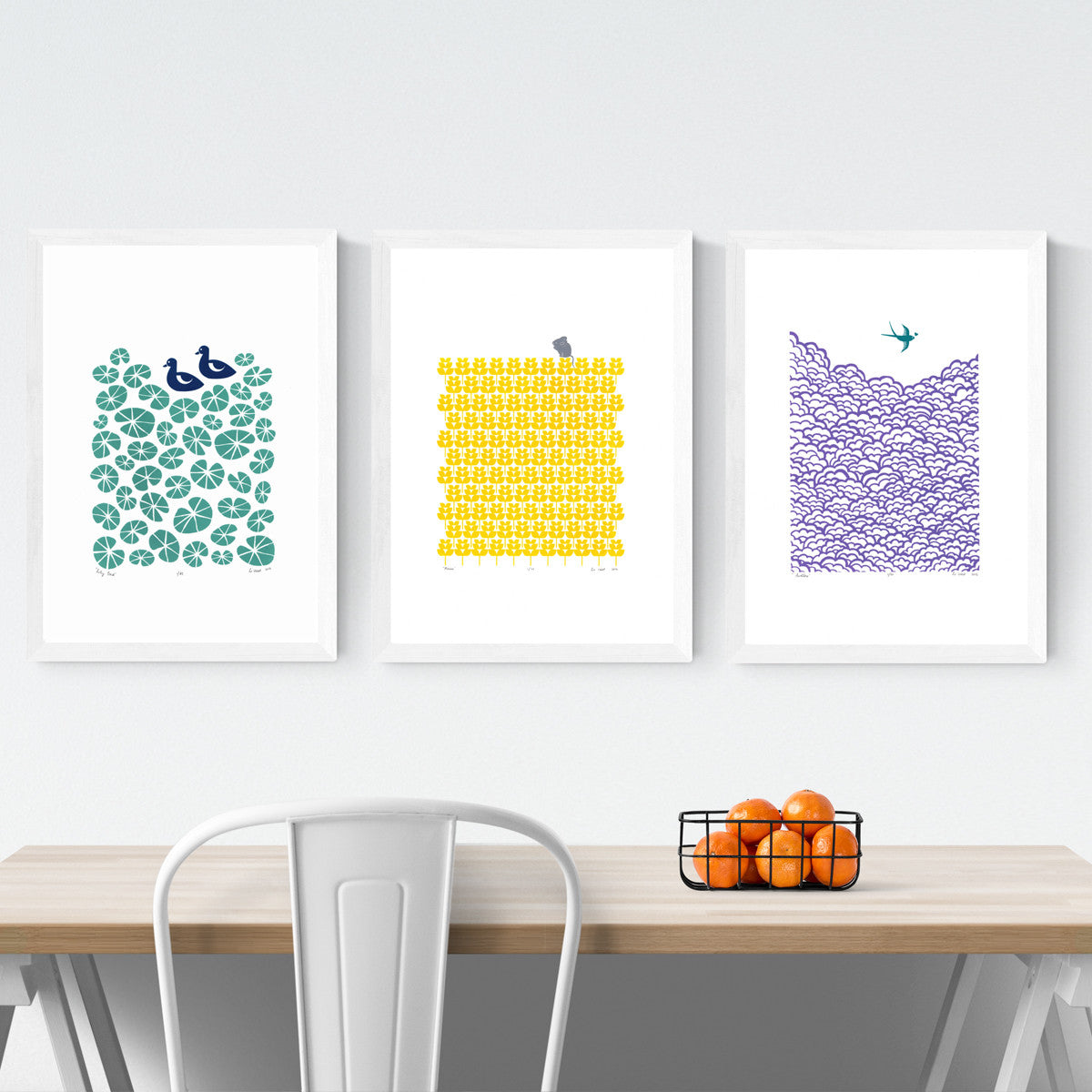 Buy 2 Get 1 Free Special Offer on Limited Edition Screen Prints by Lu West. Lily Pond, Mouse and Swallow prints in White Frames.