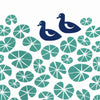 Delightful print of midnight blue ducks in a pond of green floating water lilies. The simple botanical patterns will bring a sense of calm to your home.