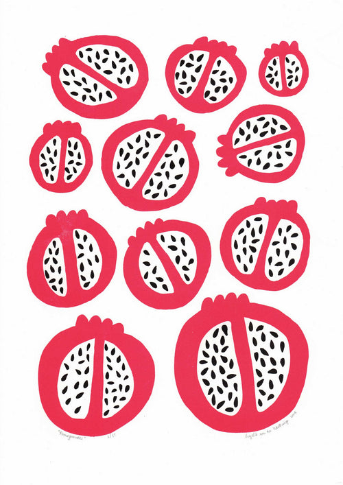 Pomegranates Screen Print in Bright Red