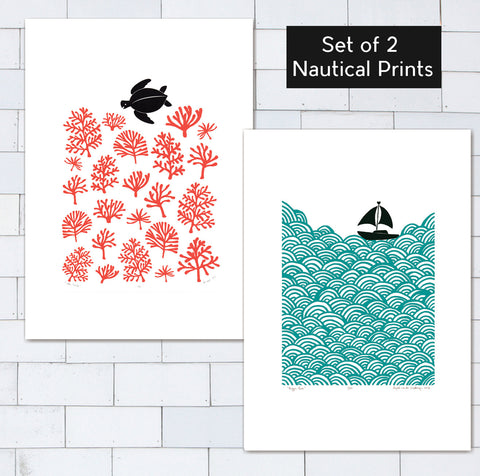 Set of 2 x A2 size Nautical Prints - Save 20% (UNFRAMED)