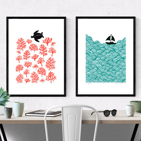 Set of 2 x A2 size Nautical Prints - Save 20% (FRAMED)