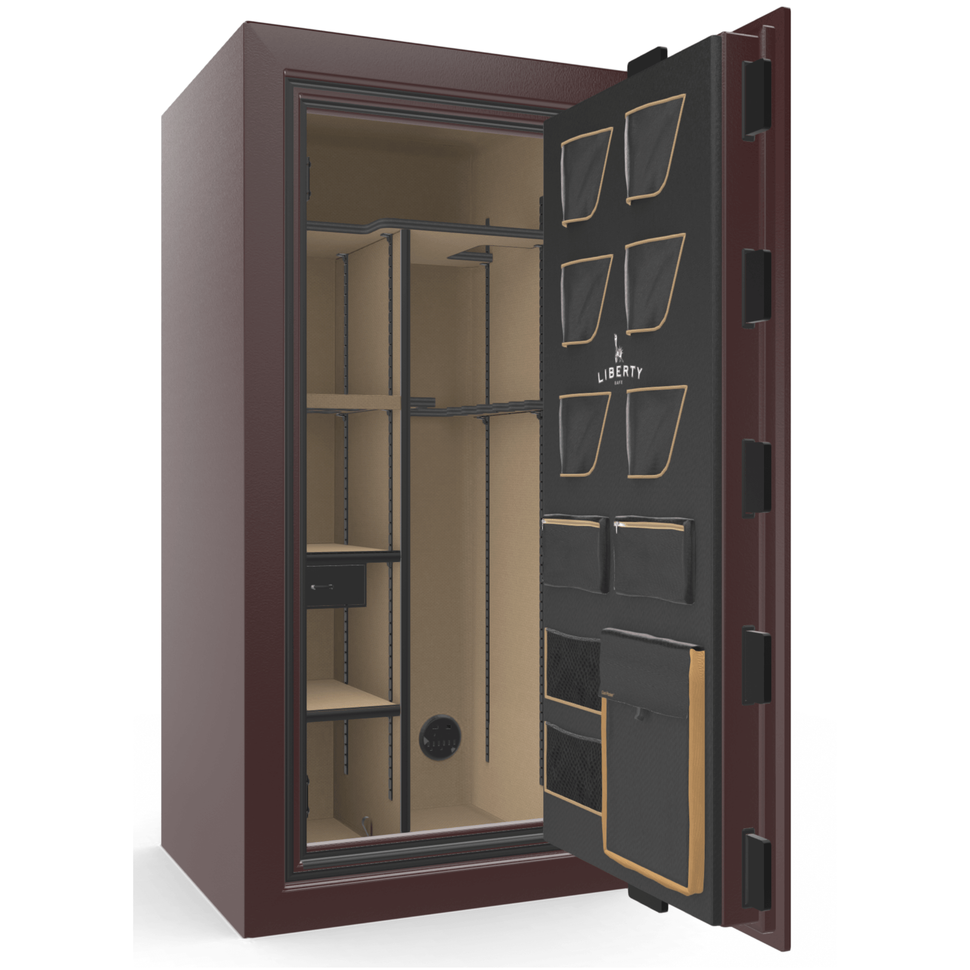 "Classic Plus | 25 | Level 7 Security | 110 Minute Fire Protection | Burgundy | Brass Electronic Lock | 60.5""(H) x 30""(W) x 29""(D)"