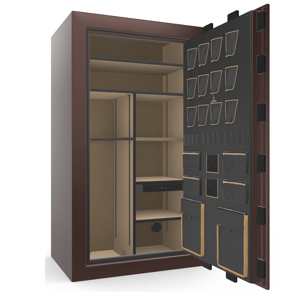 "Classic Plus | 50 | Level 7 Security | 110 Minute Fire Protection | Burgundy Gloss | Brass Mechanical Lock | 72.5""(H) x 42""(W) x 32""(D)"