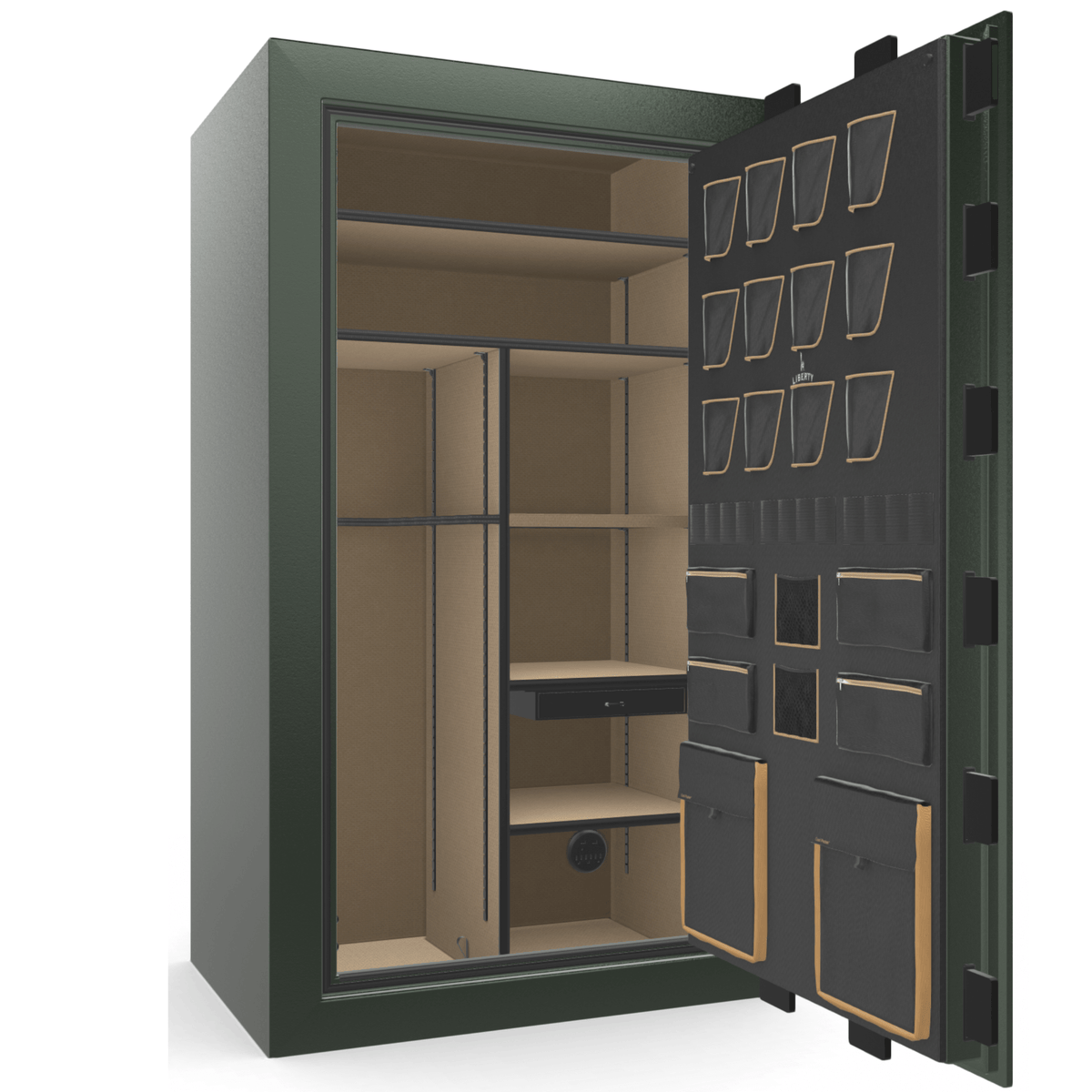 "Classic Plus | 50 | Level 7 Security | 110 Minute Fire Protection | Green | Brass Electronic Lock | 72.5""(H) x 42""(W) x 32""(D)"