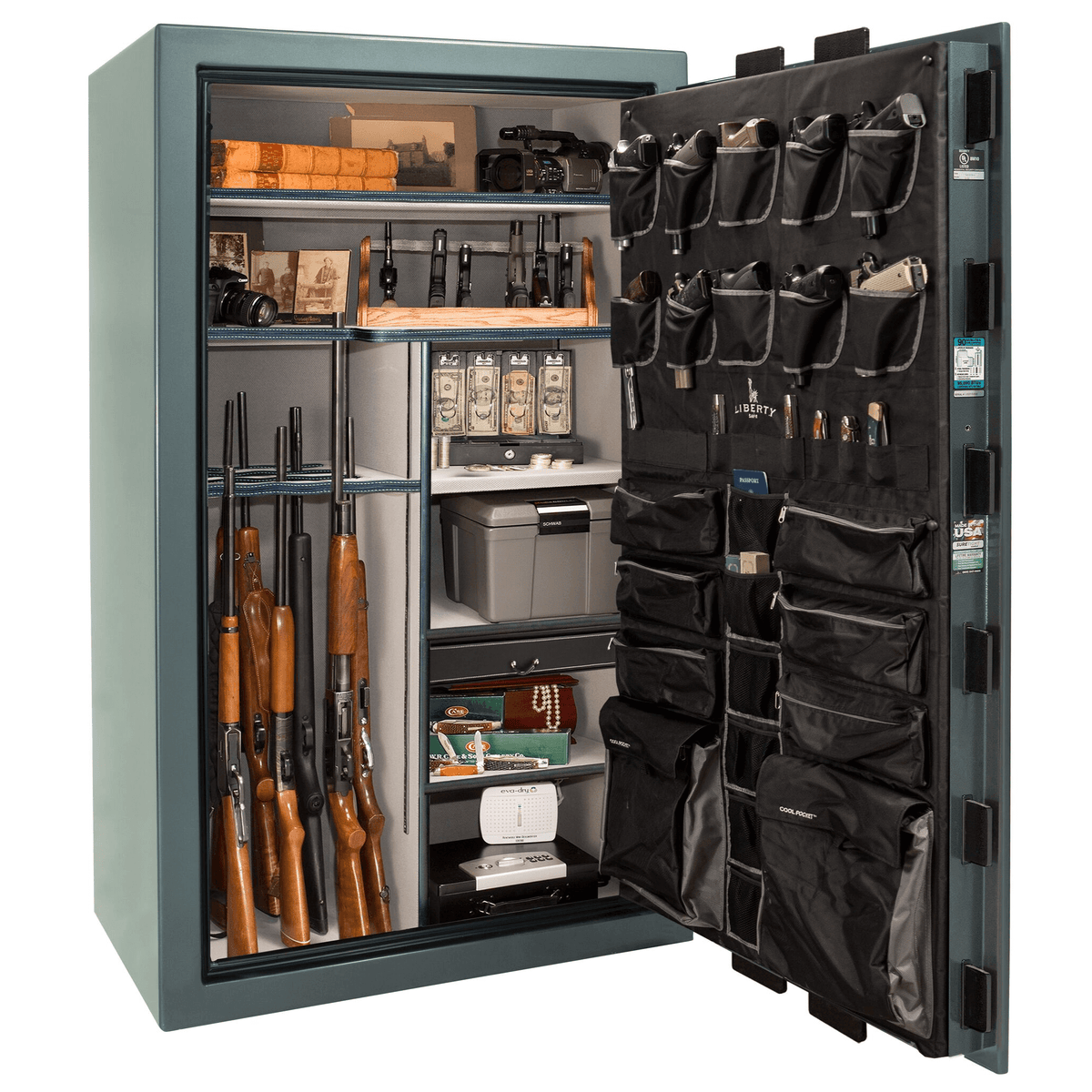 "Lincoln | 50 | Level 5 Security | 110 Minute Fire Protection | Forest Mist Gloss | Black Mechanical Lock | 72.5""(H) x 42""(W) x 32""(D)"