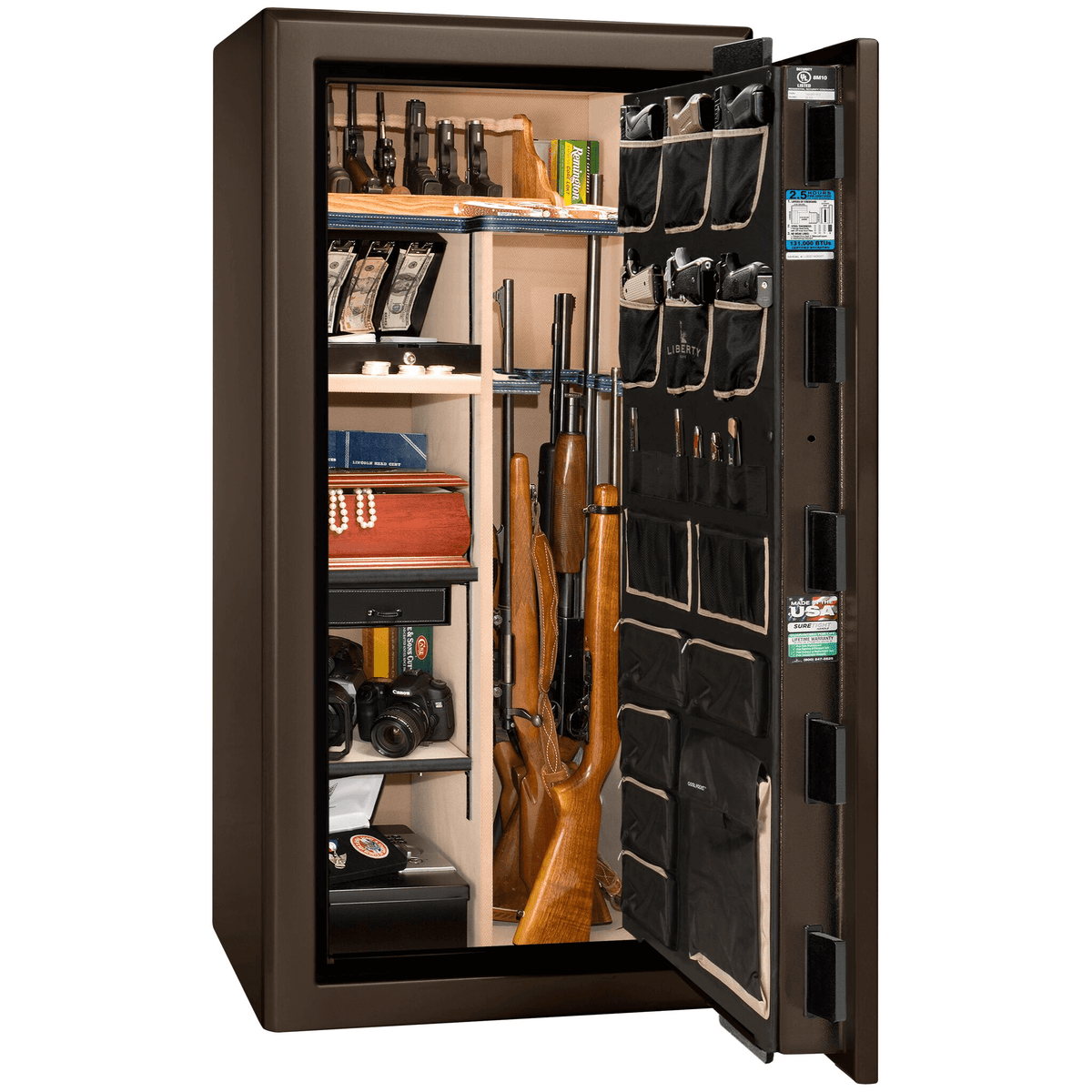 "Presidential | 25 | Level 8 Security | 2.5 Hours Fire Protection | Bronze Gloss | Black Electronic Lock | 60.5""(H) x 30""(W) x 29""(D)"