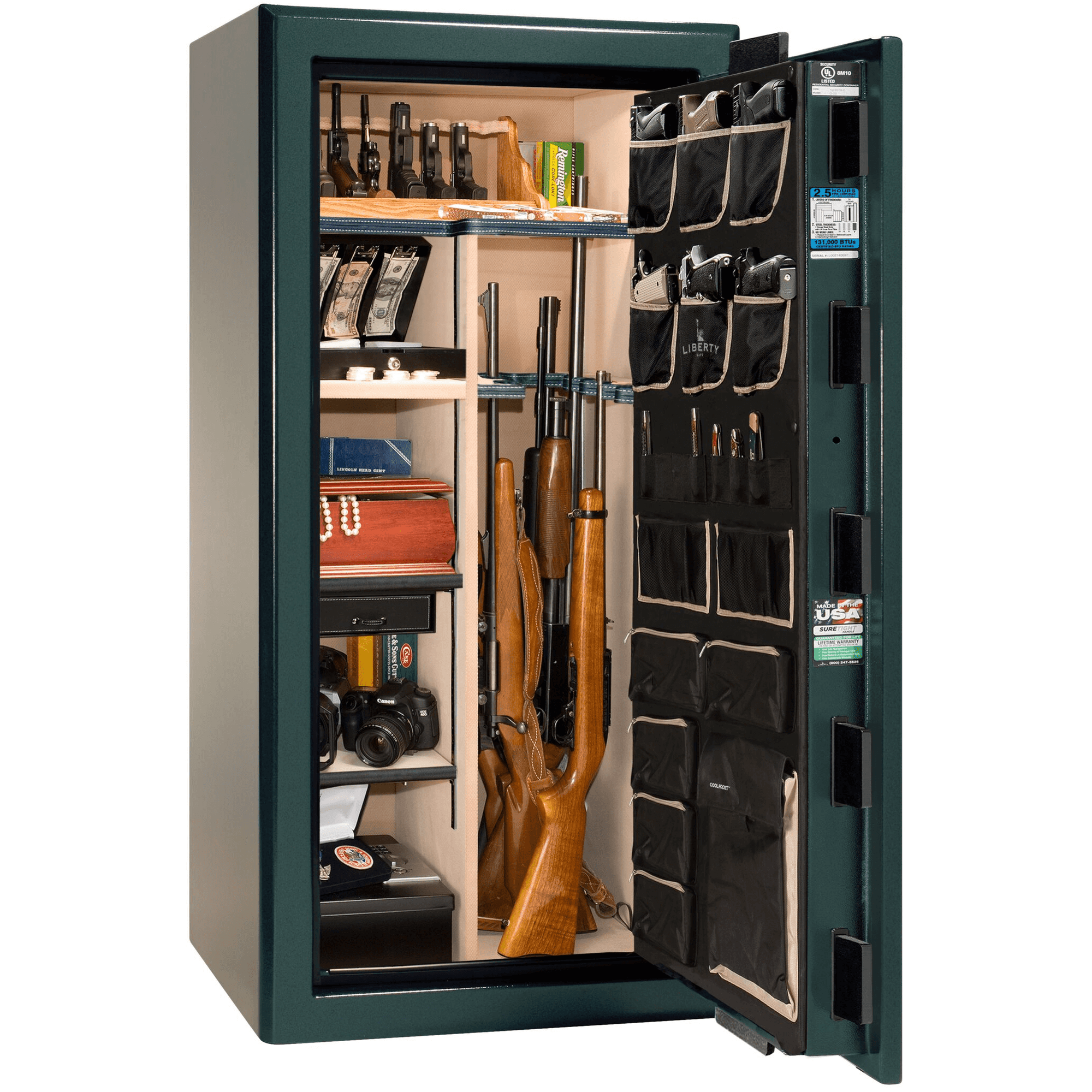 "Presidential | 25 | Level 8 Security | 2.5 Hours Fire Protection | Green | Black Electronic Lock | 60.5""(H) x 30""(W) x 29""(D)"