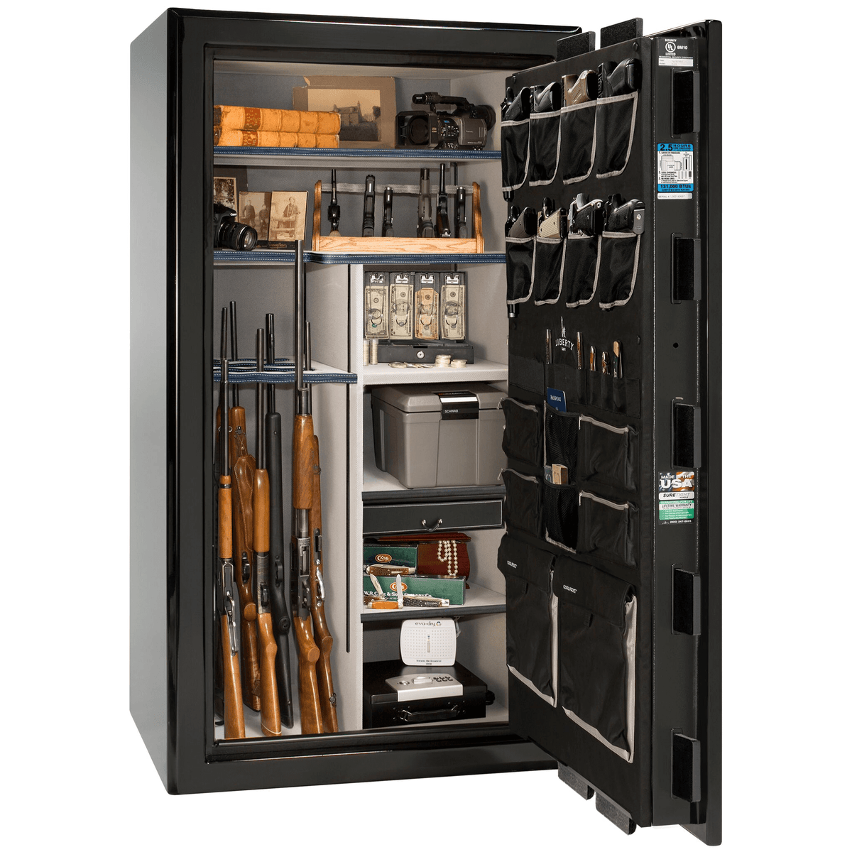 "Presidential | 40 | Level 8 Security | 2.5 Hours Fire Protection | Black Gloss | Chrome Electronic Lock | 65.5""(H) x 36""(W) x 32""(D)"