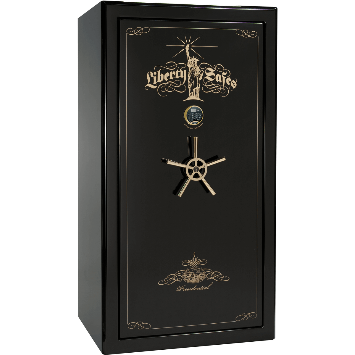 "Presidential | 40 | Level 8 Security | 150 Minute Fire Protection | Black Gloss | Brass Electronic Lock | 65.5""(H) x 36""(W) x 32""(D)"