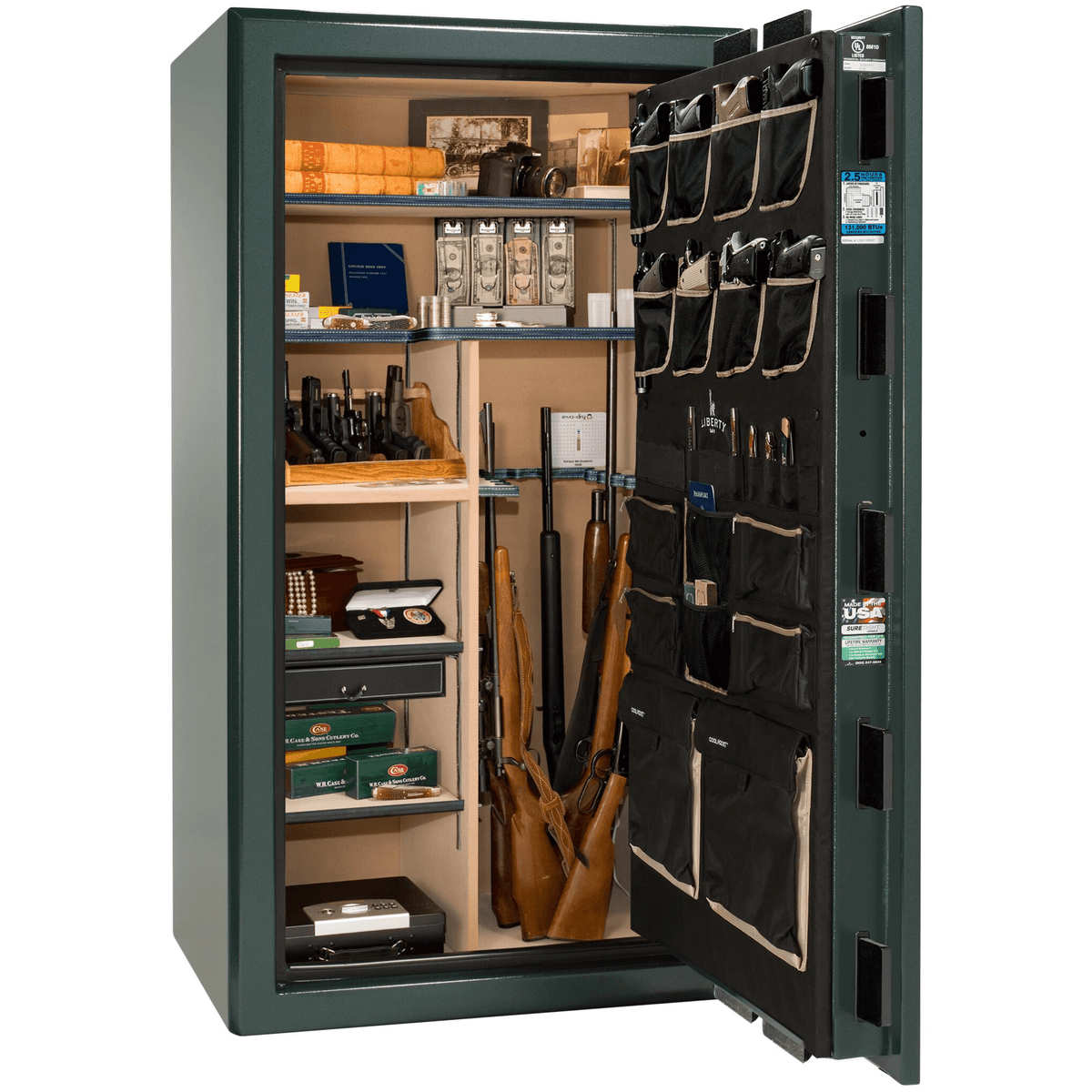 "Presidential | 40 | Level 8 Security | 2.5 Hours Fire Protection | Green | Black Mechanical Lock | 65.5""(H) x 36""(W) x 32""(D)"