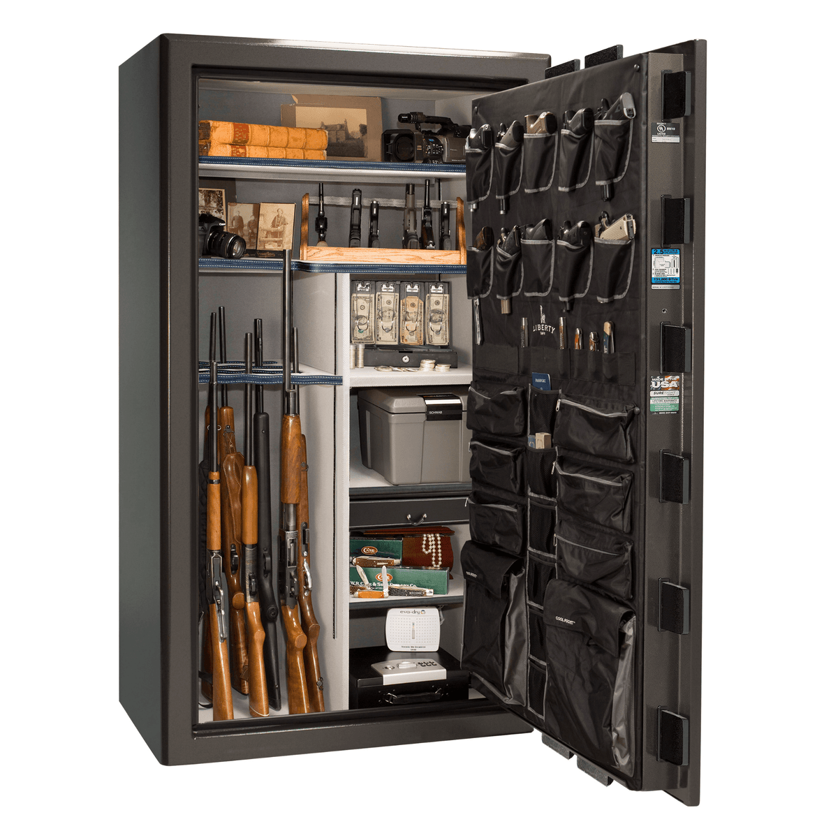 "Presidential | 50 | Level 8 Security | 2.5 Hours Fire Protection | Gray Gloss | Black Mechanical Lock | 72.5""(H) x 42""(W) x 32""(D)"