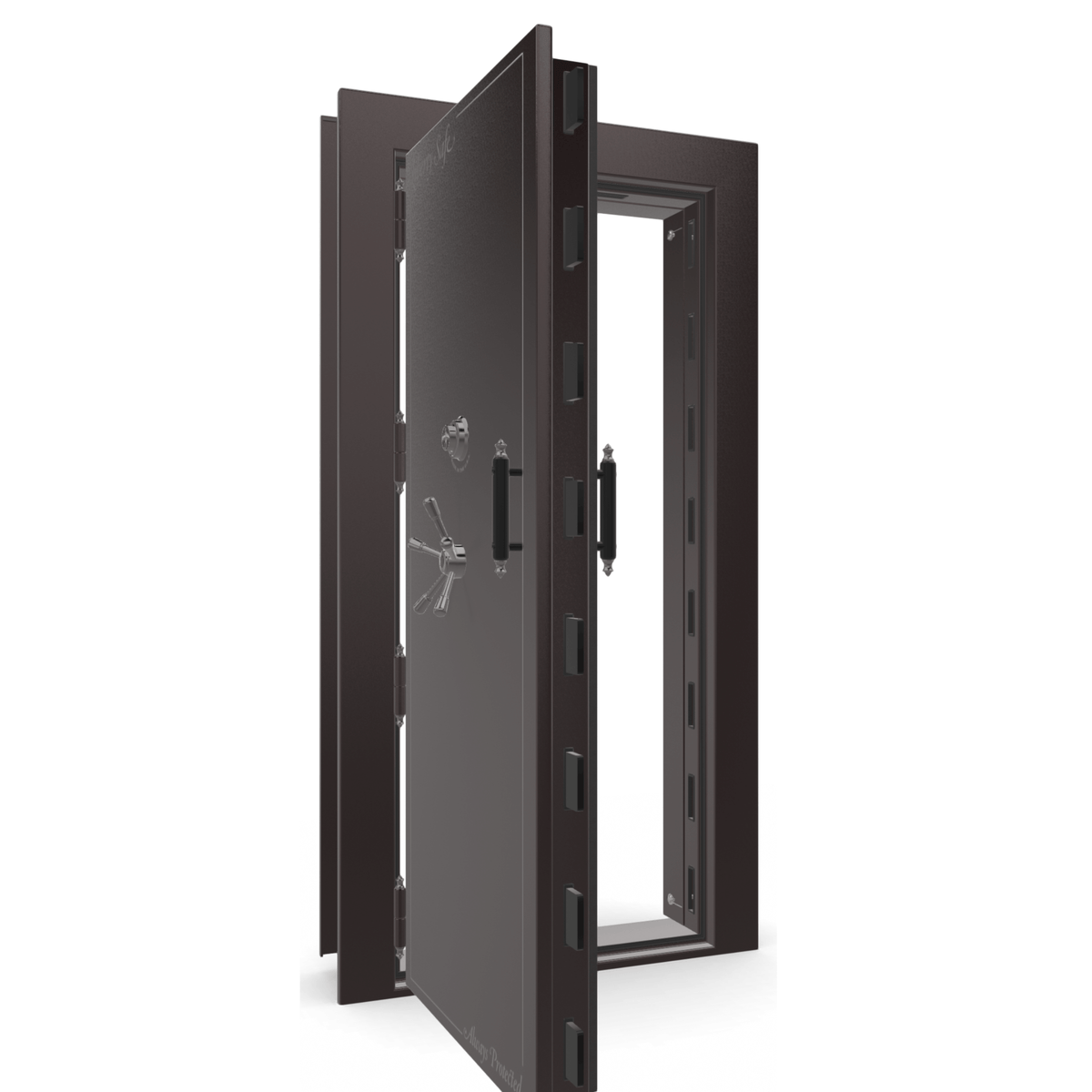 "Vault Door Left Outswing | Black Cherry Gloss | Black Electronic Lock | 81-85""(H) x 27-42""(W) x 7-10""(D)"