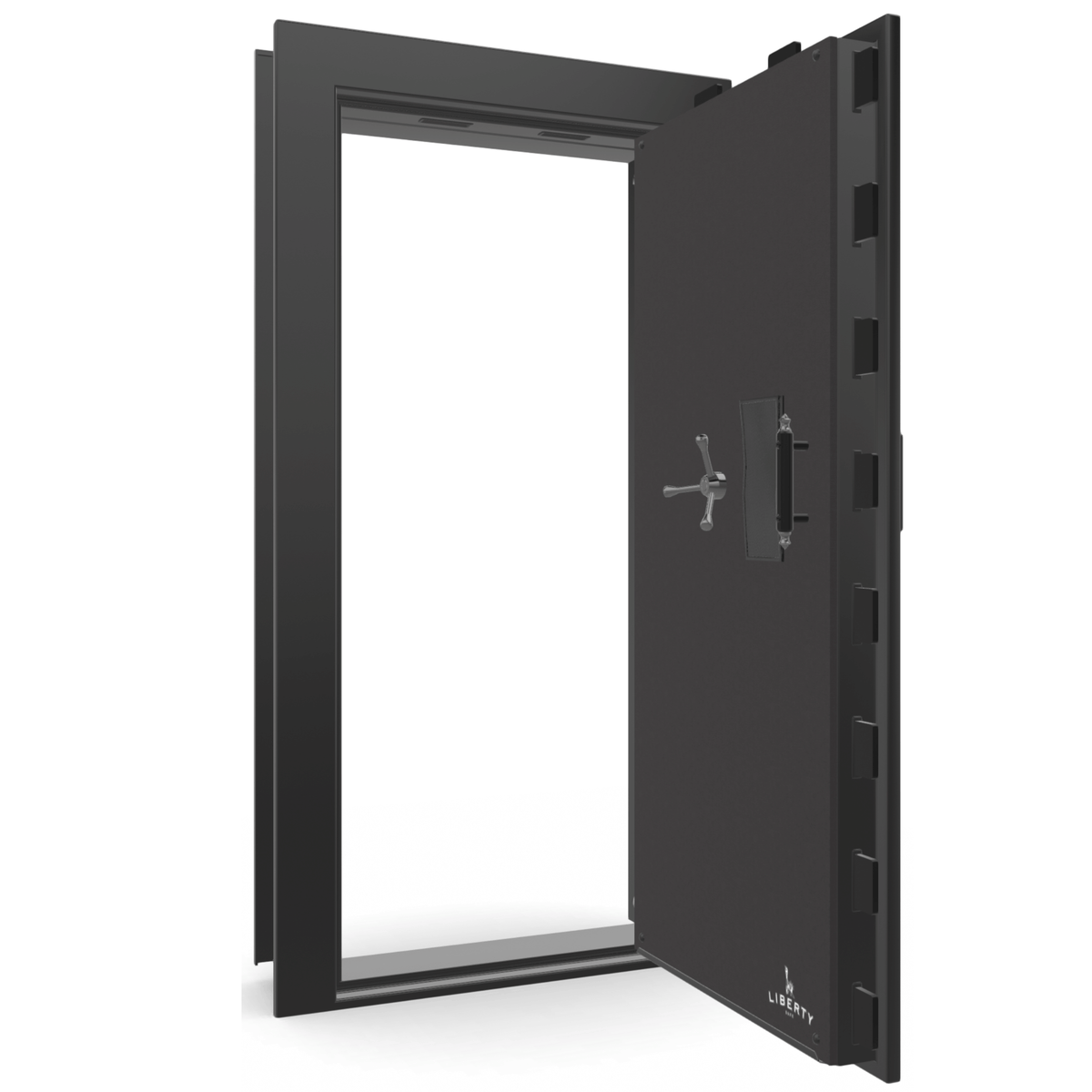 "Vault Door Right Outswing | Black Gloss | Black Mechanical Lock | 81-85""(H) x 27-42""(W) x 7-10""(D)"