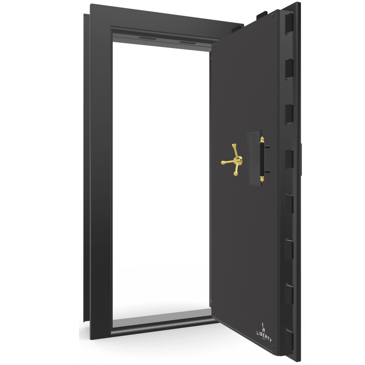 "Vault Door Right Outswing | Black Gloss | Brass Mechanical Lock | 81-85""(H) x 27-42""(W) x 7-10""(D)"