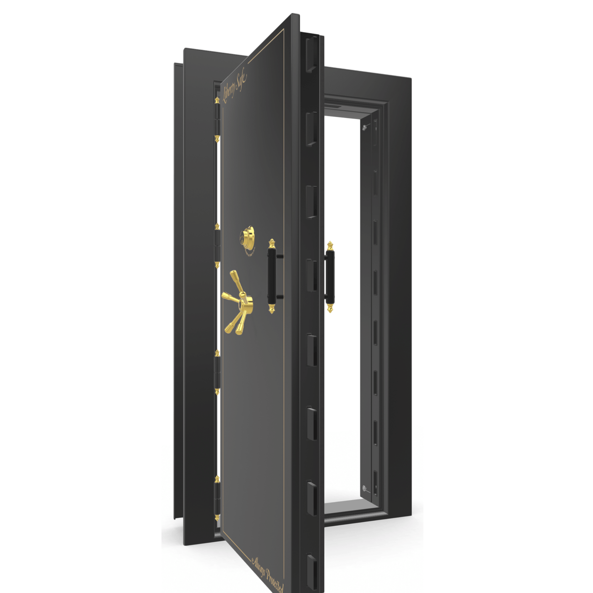 "Vault Door Left Outswing | Black Gloss | Brass Mechanical Lock | 81-85""(H) x 27-42""(W) x 7-10""(D)"