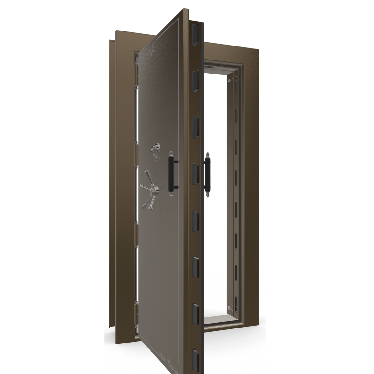 "Vault Door Left Outswing | Bronze Gloss | Black Electronic Lock | 81-85""(H) x 27-42""(W) x 7-10""(D)"