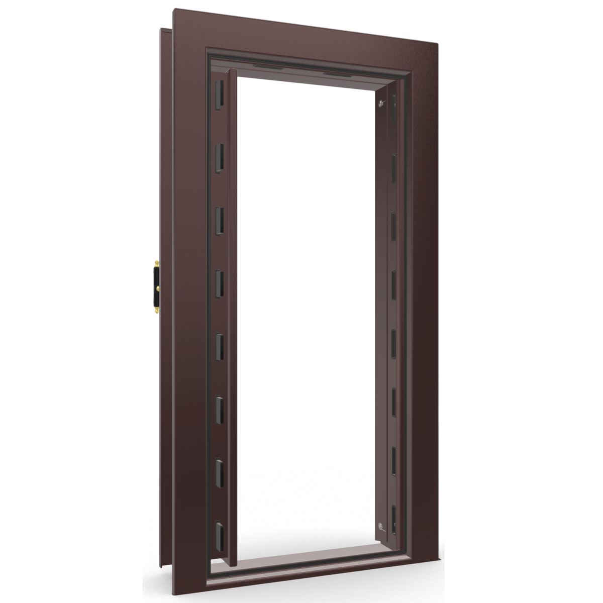 "Vault Door Left Inswing | Burgundy Gloss | Brass Mechanical Lock | 81-85""(H) x 27-42""(W) x 7-10""(D)"