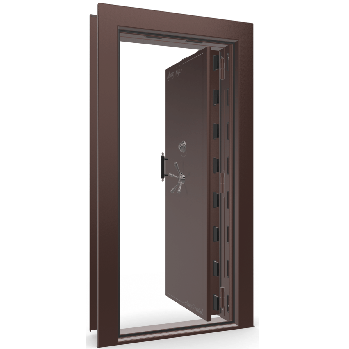 "Vault Door Right Inswing | Burgundy | Black Mechanical Lock | 81-85""(H) x 27-42""(W) x 7-10""(D)"