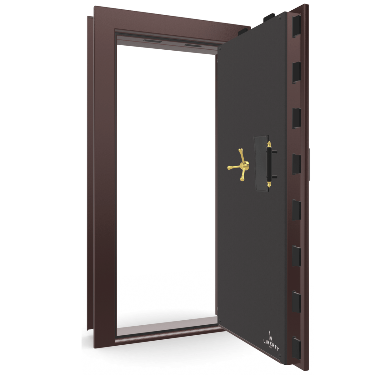 "Vault Door Right Outswing | Burgundy Gloss | Brass Electronic Lock | 81-85""(H) x 27-42""(W) x 7-10""(D)"