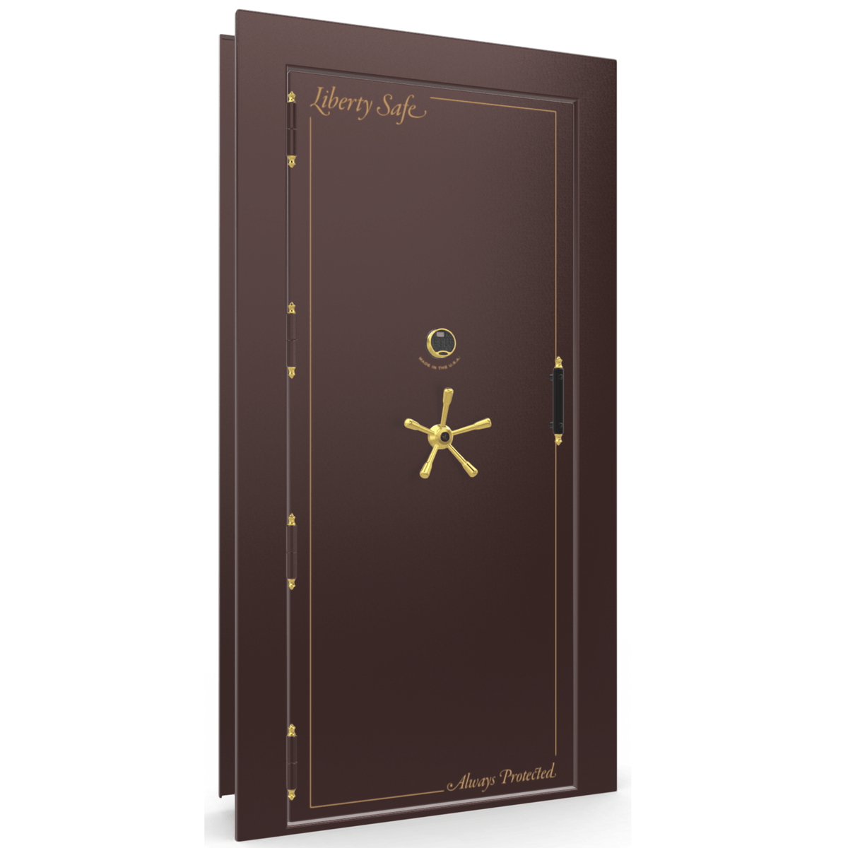 "Vault Door Left Outswing | Burgundy Gloss | Brass Electronic Lock | 81-85""(H) x 27-42""(W) x 7-10""(D)"