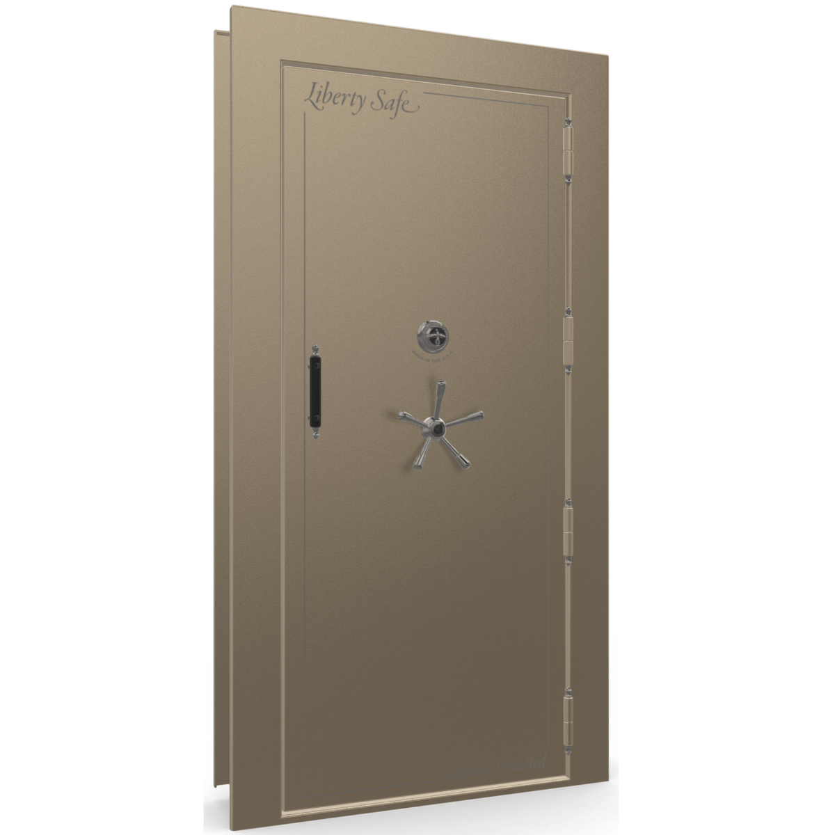 "Vault Door Right Outswing | Champagne | Black Mechanical Lock | 81-85""(H) x 27-42""(W) x 7-10""(D)"
