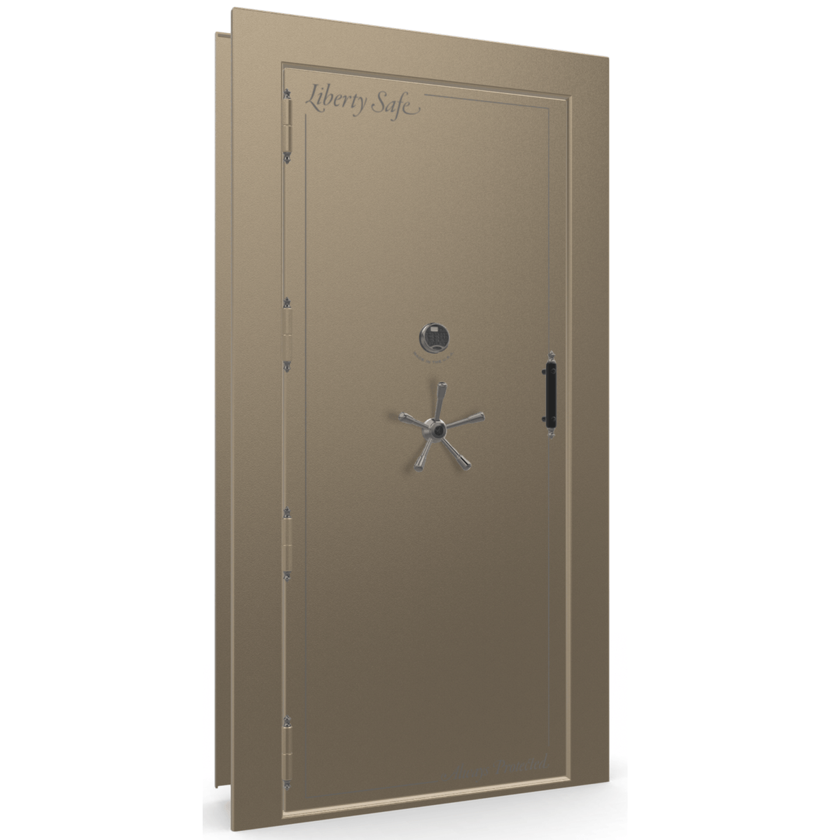 "Vault Door Left Outswing | Champagne | Black Electronic Lock | 81-85""(H) x 27-42""(W) x 7-10""(D)"