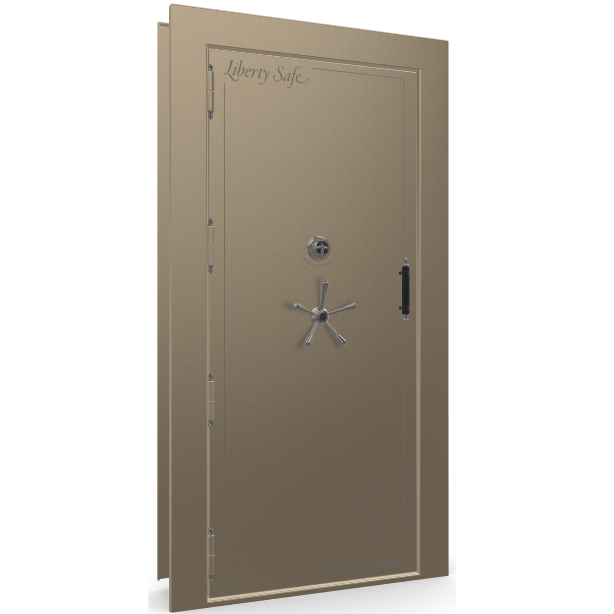 "Vault Door Left Outswing | Champagne | Black Mechanical Lock | 81-85""(H) x 27-42""(W) x 7-10""(D)"