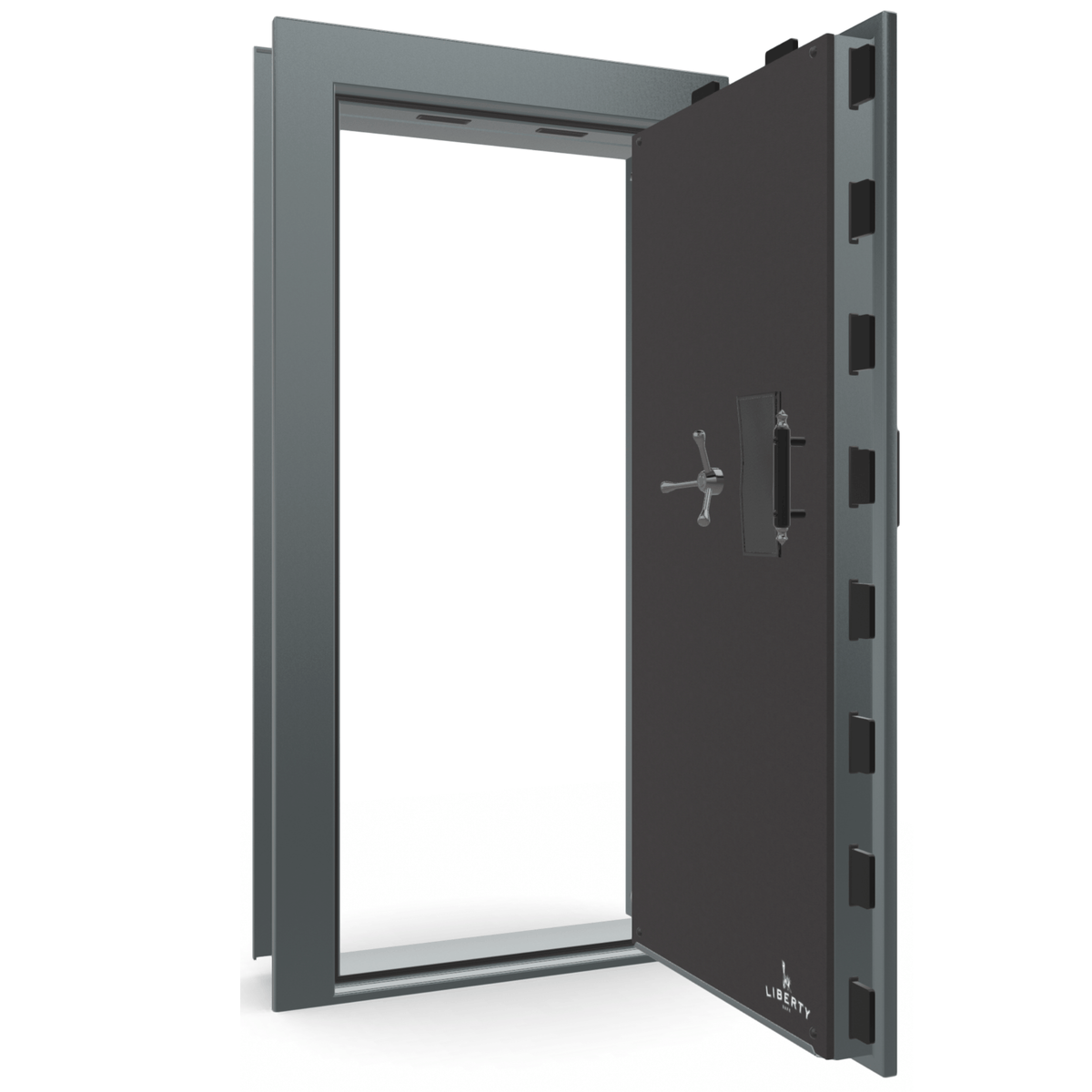 "Vault Door Right Outswing | Forest Mist Gloss | Black Electronic Lock | 81-85""(H) x 27-42""(W) x 7-10""(D)"