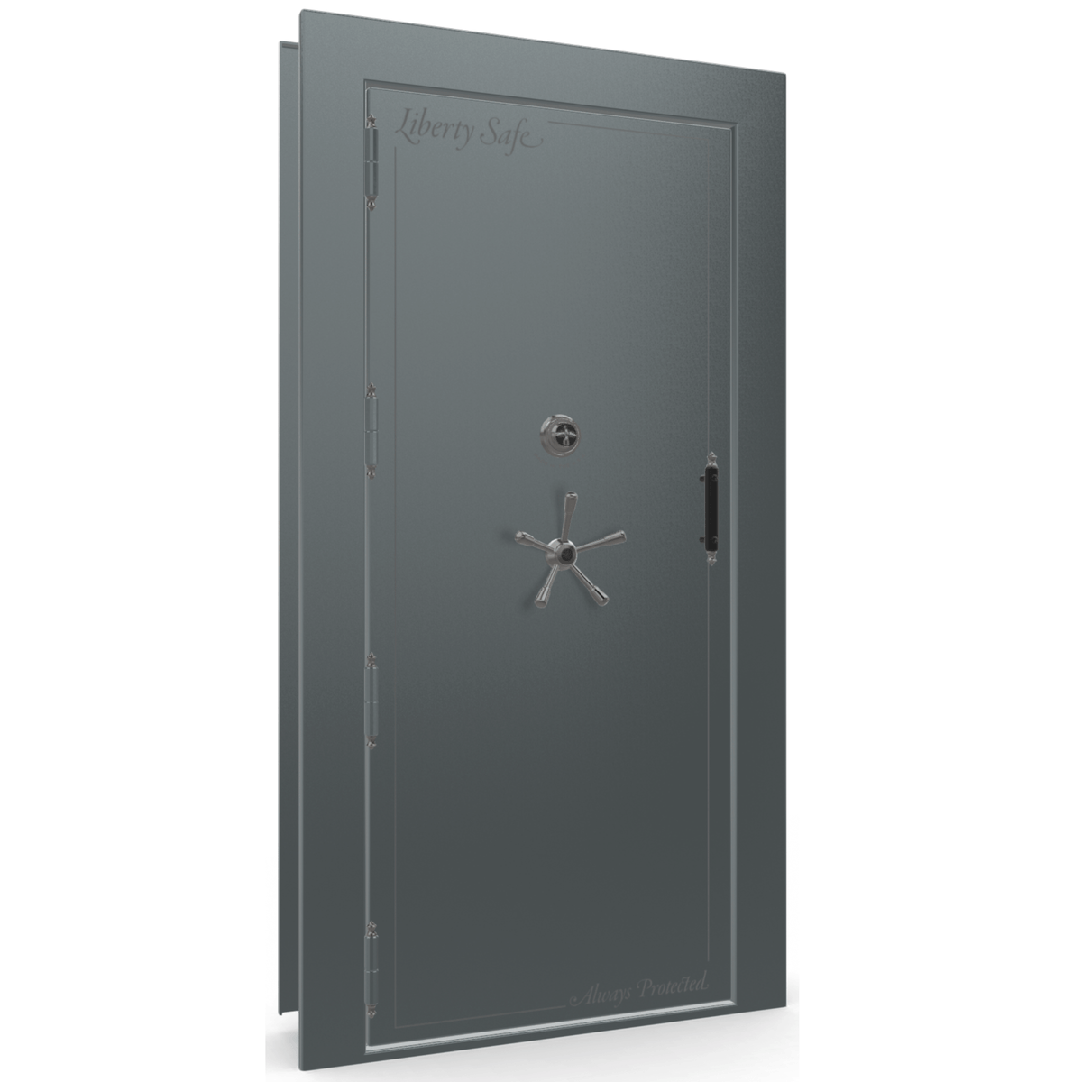 "Vault Door Left Outswing | Forest Mist Gloss | Black Mechanical Lock | 81-85""(H) x 27-42""(W) x 7-10""(D)"