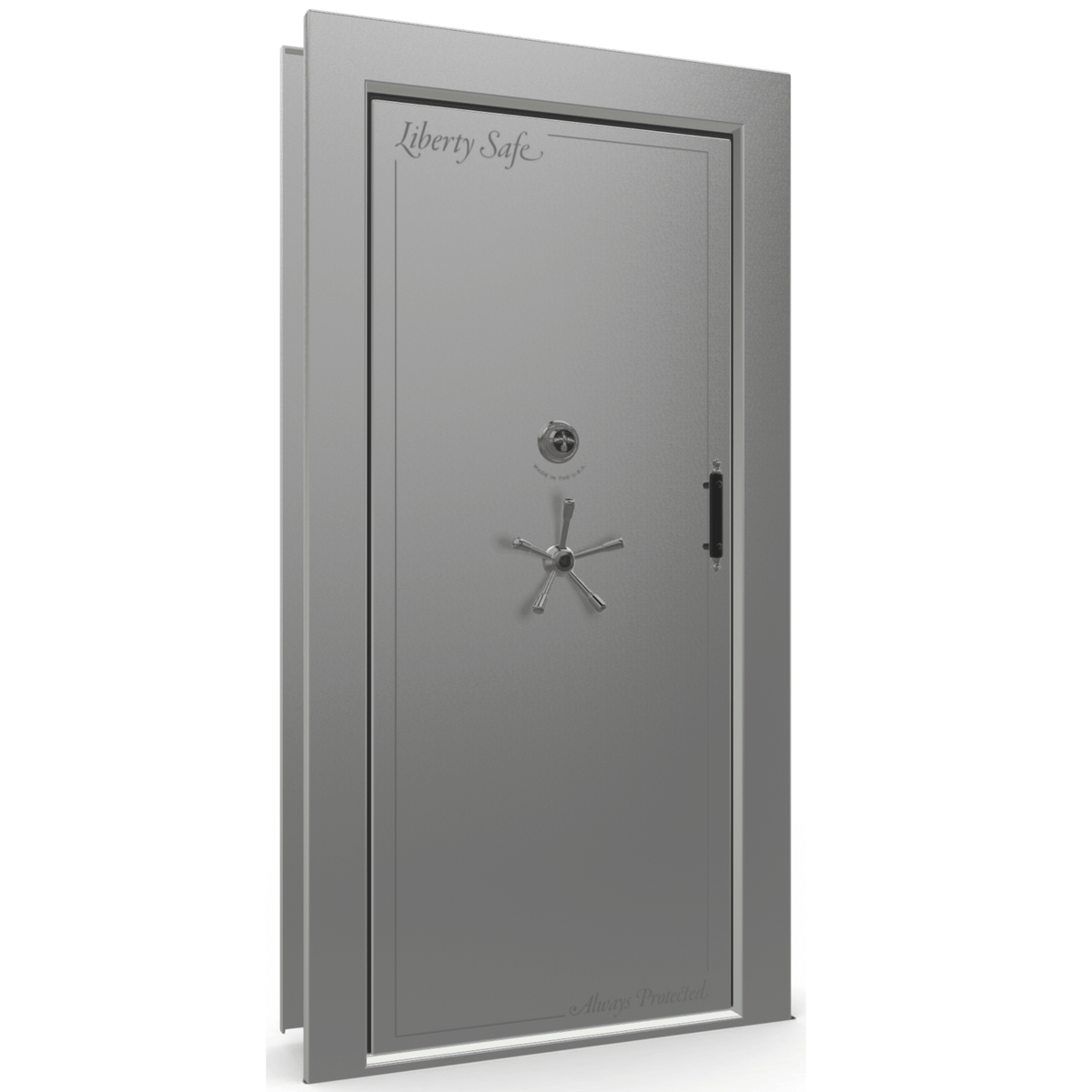 "Vault Door Left Inswing | Gray Gloss | Black Mechanical Lock | 81-85""(H) x 27-42""(W) x 7-10""(D)"