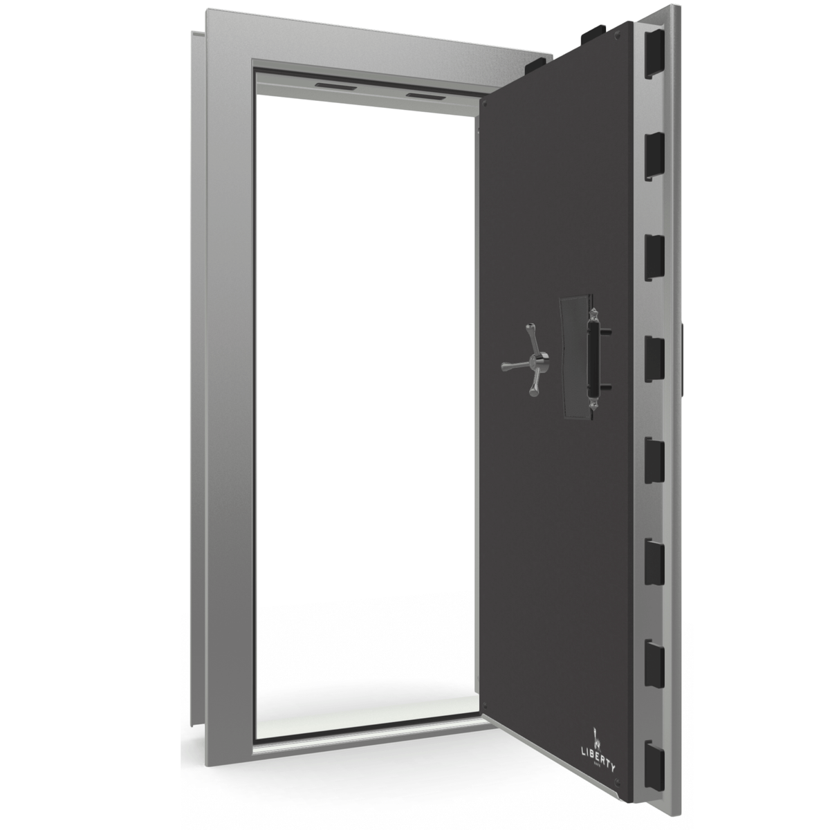 "Vault Door Right Outswing | Gray Gloss | Black Electronic Lock | 81-85""(H) x 27-42""(W) x 7-10""(D)"