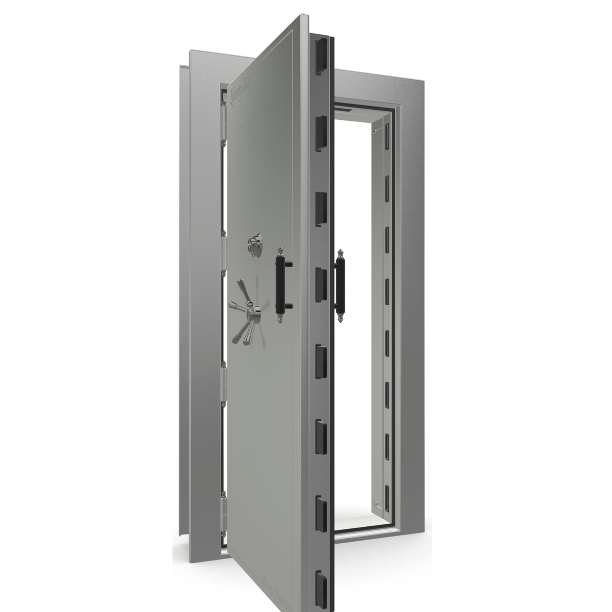 "Vault Door Left Outswing | Gray Gloss | Black Mechanical Lock | 81-85""(H) x 27-42""(W) x 7-10""(D)"