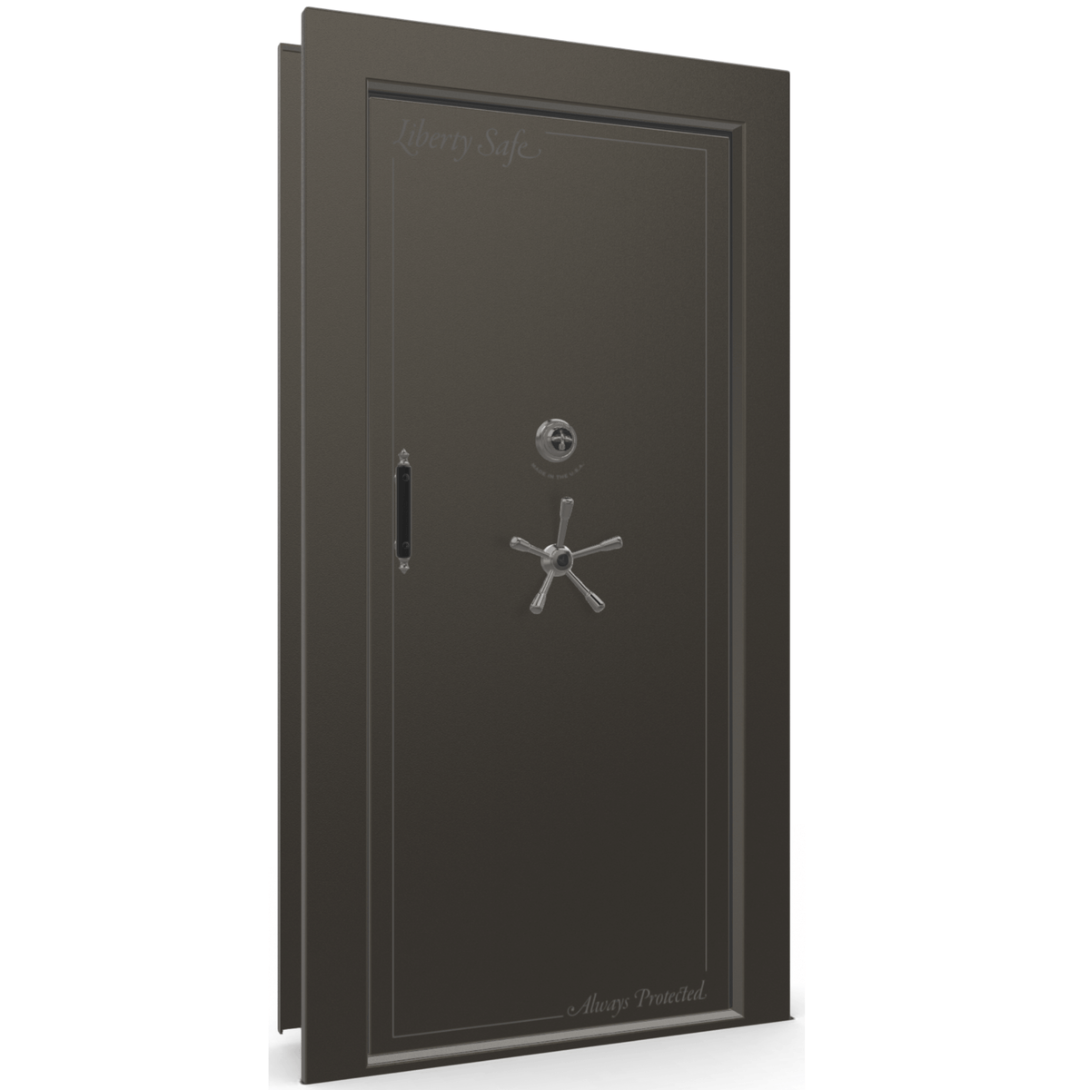 "Vault Door Right Inswing | Gray | Black Mechanical Lock | 81-85""(H) x 27-42""(W) x 7-10""(D)"