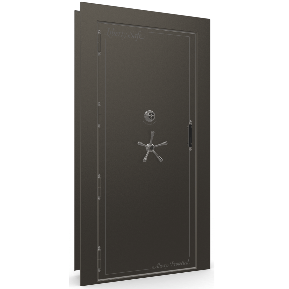 "Vault Door Left Outswing | Gray | Black Mechanical Lock | 81-85""(H) x 27-42""(W) x 7-10""(D)"
