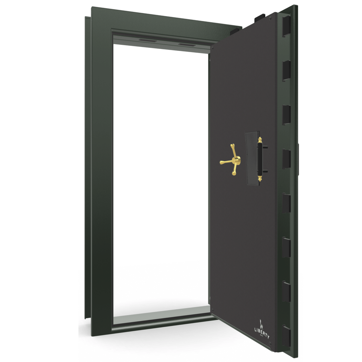 "Vault Door Right Outswing | Green Gloss | Brass Electronic Lock | 81-85""(H) x 27-42""(W) x 7-10""(D)"