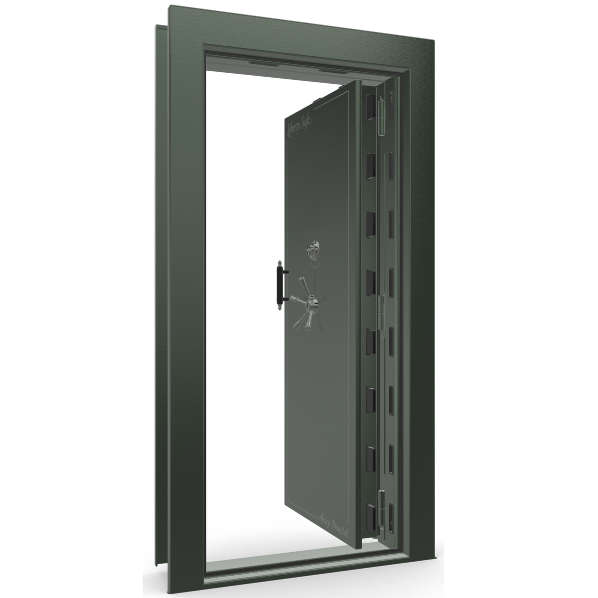 "Vault Door Right Inswing | Green | Black Mechanical Lock | 81-85""(H) x 27-42""(W) x 7-10""(D)"