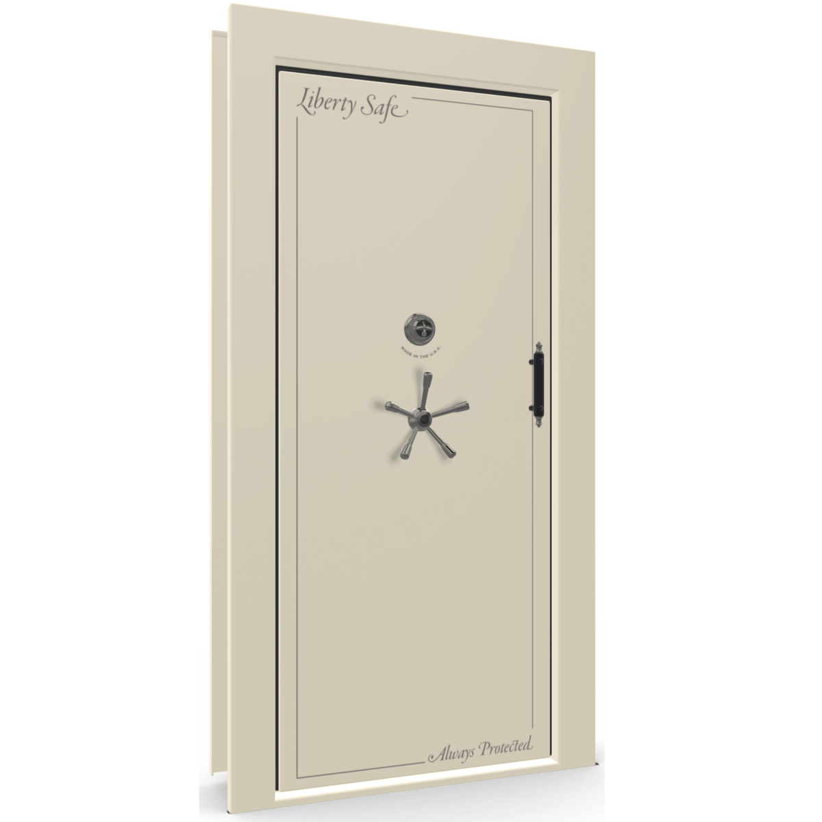 "Vault Door Left Inswing | White Gloss | Black Mechanical Lock | 81-85""(H) x 27-42""(W) x 7-10""(D)"