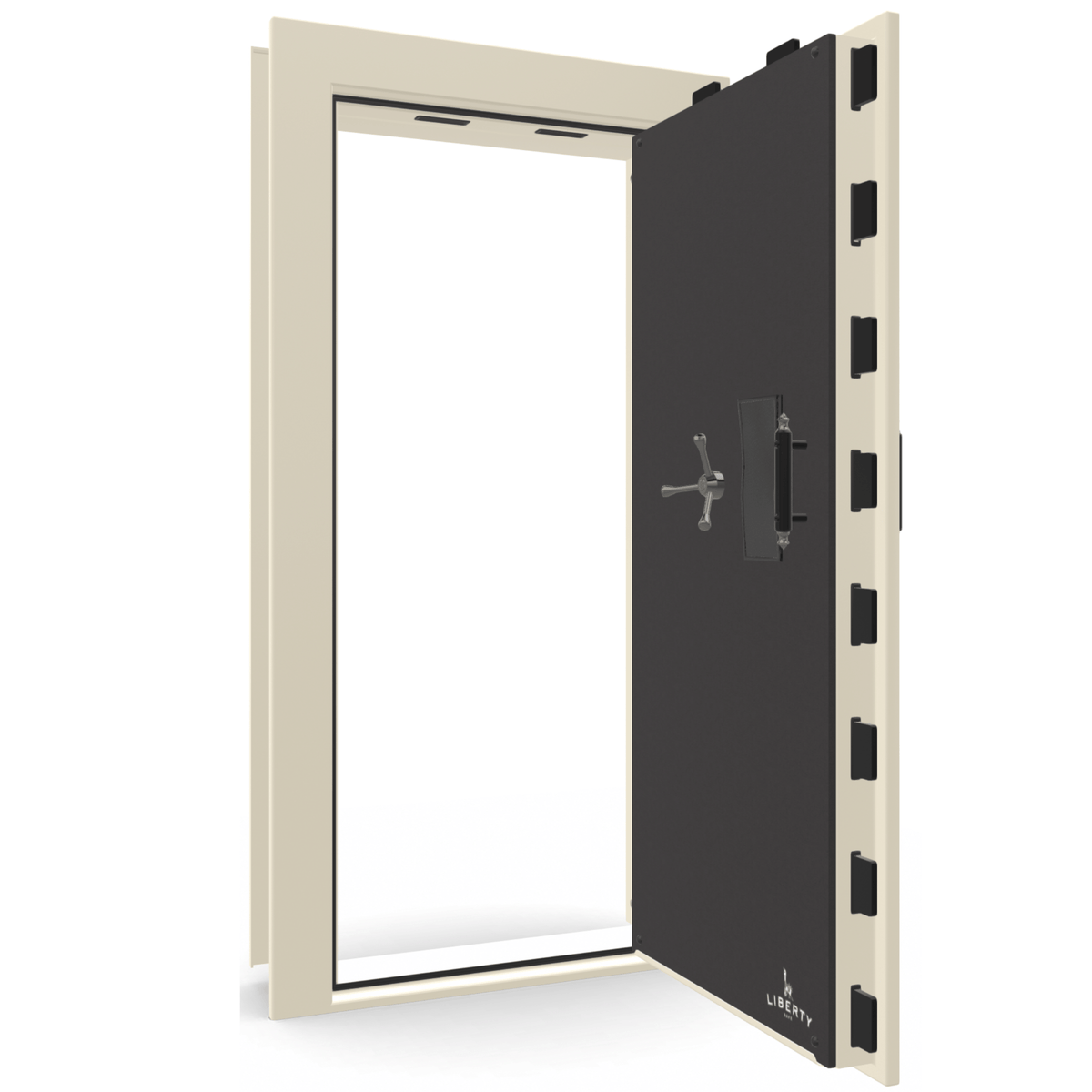 "Vault Door Right Outswing | White Gloss | Black Electronic Lock | 81-85""(H) x 27-42""(W) x 7-10""(D)"