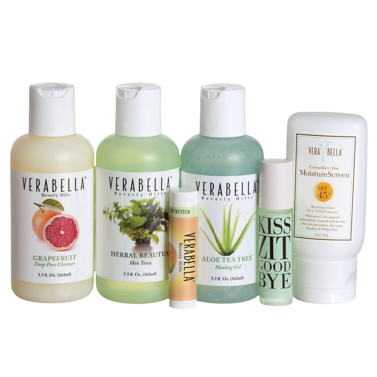 Verabella Face Essentials Kit - cleanser, tonic, moisturizer, SPF, and acne treatment
