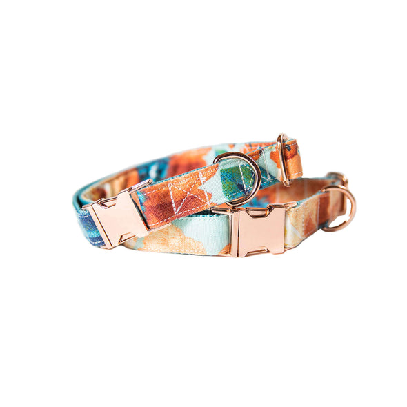 Blue Floral Dog Collar Rose Gold Collection