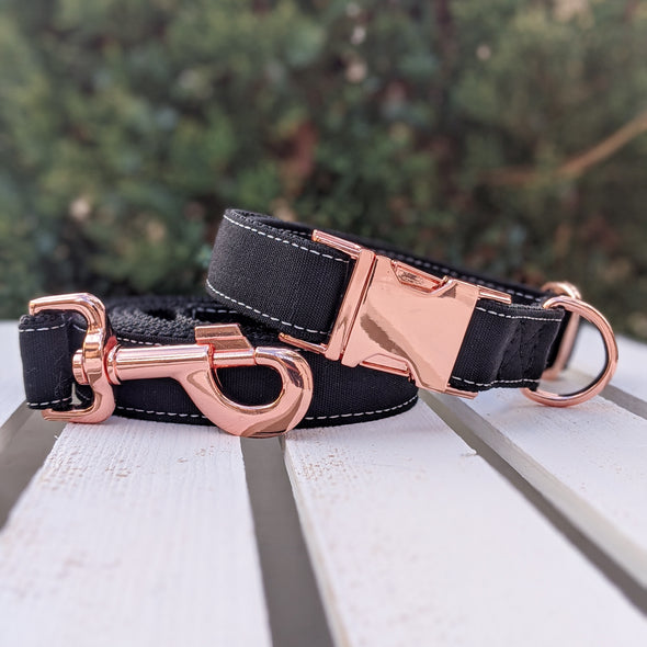 Onyx Dog Leash Rose Gold Collection
