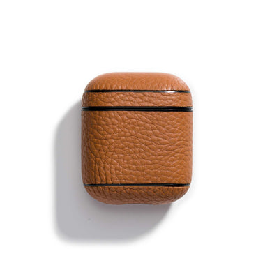caramel-main-brown colored leather airpods case that can be personalized with your initials
