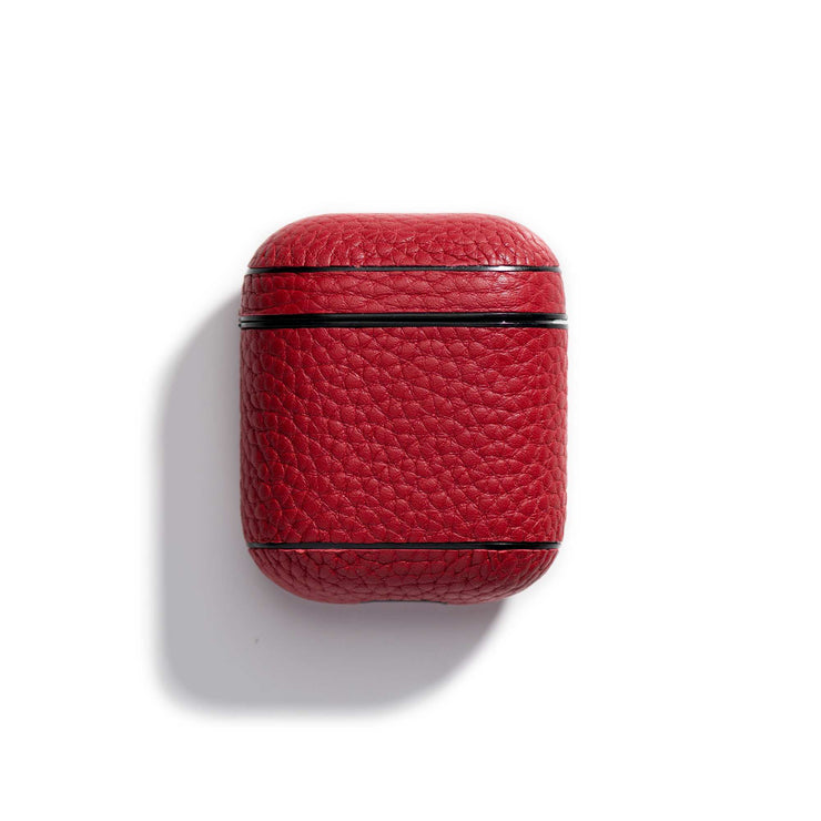 cherry-main-red colored leather airpods case that can be personalized with your initials