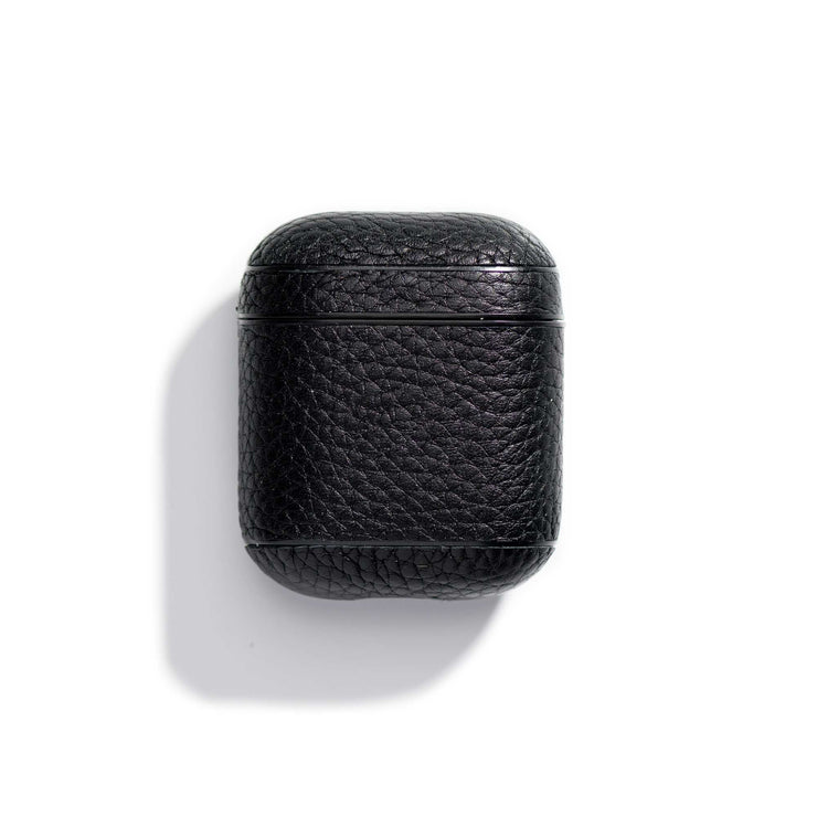 espresso-main-black colored leather airpods case that can be personalized with your initials