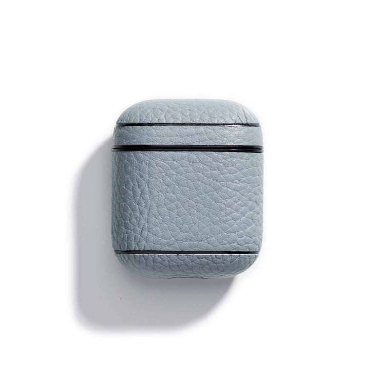 oyster-main-blue colored leather airpods case that can be personalized with your initials
