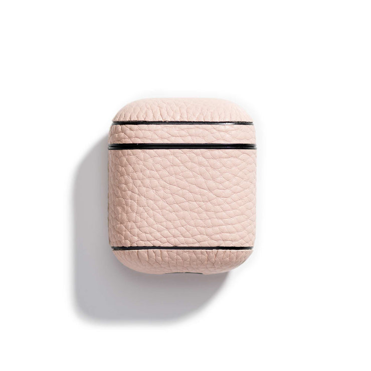 rosewater-main-pink colored leather airpods case that can be personalized with your initials